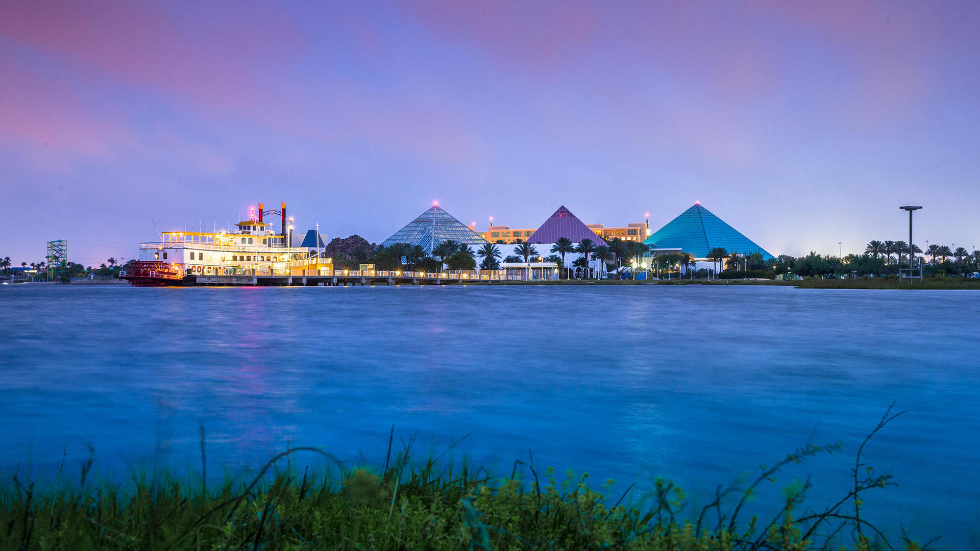 View of Pyramids From Across the Water